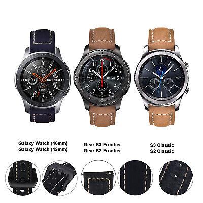 Genuine Leather Strap Replacement Bracelet  For Samsung Galaxy Watch 46mm/42mm