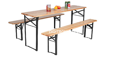 3 Piece Wooden Folding Picnic Beer Table Bench Set Trestle Patio Outdoor Garden