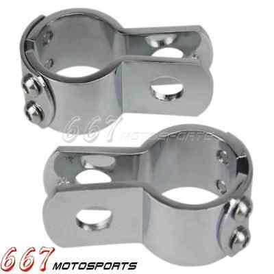 """Motorcycle Footpeg Mounts Clamp For 1 1/8"""" Crash Bar Engine Pegs Clamps Chrome"""