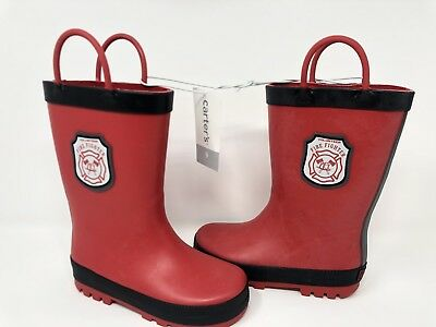 New Toddler Carter/'s Waterproof Rain Boots Size 11 Firefighter Red or Floral