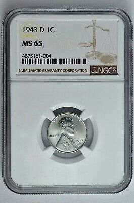 1943 D 1c Lincoln Steel Wheat Cent NGC MS 65