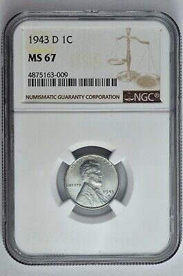 1943 D 1c Lincoln Steel Wheat Cent NGC MS 67