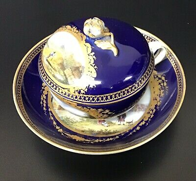 Meissen Porcelain Cobalt Gilt Covered Cup With Saucer