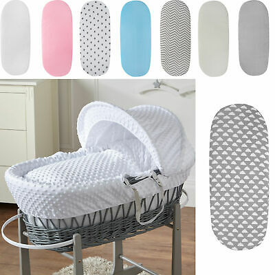 2x Moses Basket Jersey Fitted Sheet 100% Cotton 76x28cm
