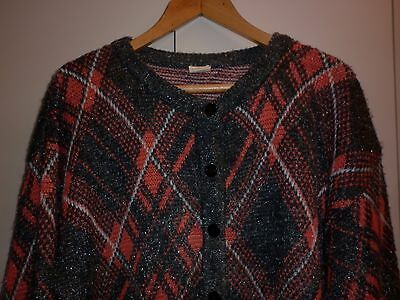 VINTAGE 1980s FUNKY ACRYLIC CARDIGAN SIZE 12 EXCELLENT CONDITION