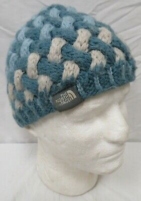 b078002c93f The North Face One Size Blue Teal White Thick Knit Beanie Cap Winter Hat