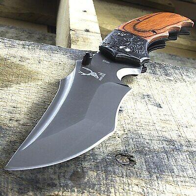 "7.5"" WOOD HANDLE SPRING ASSISTED FOLDING POCKET KNIFE EDC Tactical Open Assist"