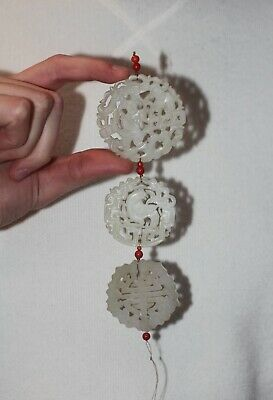 Antique Chinese carved Jade & Coral pendant long appliqué, late Qing Dynasty.