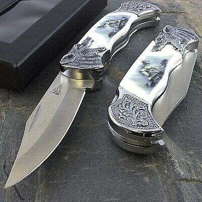 """7.25"""" ARCTIC WOLF HEAD FOLDING POCKET KNIFE w/ COLLECTOR'S DISPLAY CASE Fantasy"""