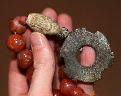 Antique Chinese carved Jade archaic and ancient beads, unusual piece, SUPERB.