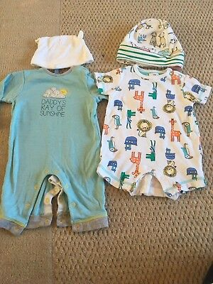 2x John Lewis Size 0-3 Months Baby Boys Rompers & Hats (TU)