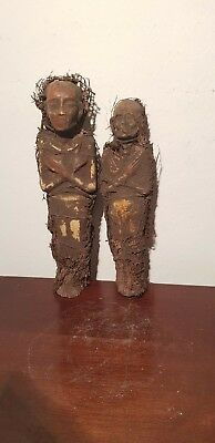 Rare Antique Ancient Egyptian 2 Ushabtis work Servant Minions Daed1780-1670BC