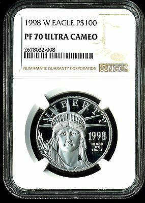 1998-W P$100 Proof Platinum American Eagle PF70 Ultra Cameo NGC 2678032-008