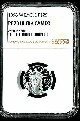 1998-W P$25 Proof Platinum American Eagle PF70 Ultra Cameo NGC 2678032-010