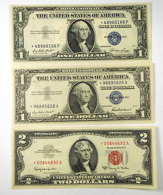 1935E & 1957 $1 And 1963 $2 STAR Note Lot (3 Pcs)