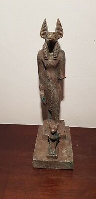 Rare Antique Ancient Egyptian Statue God Anubis & Bastet protection 1840-1750BC