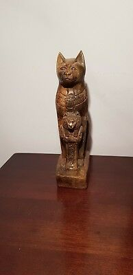 Rare Antique Ancient Egyptian Statu God Bastet Sekhmet Scarab protect1740-1630BC