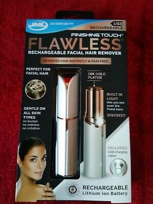 JML Finishing Touch Flawless Rechargeable Facial Hair Remover. FREE GIFT & POST!