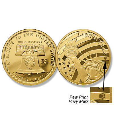 2018 Paw Print Cook Islands 1/10 Oz $5 American Statue Of Liberty .24 Fine Gold