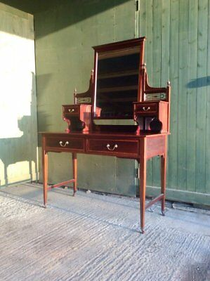Antique C.1900 Mahogany inlaid dressing table by Maple and co