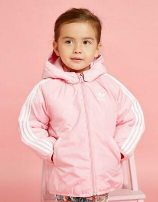 New Adidas Originals Girl's Trefoil Padded Full Zip Long Sleeve Jacket Pink