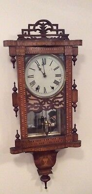 Antique American Marquetry Inlaid Spring Driven Drop Dial Wall Clock ++Working++