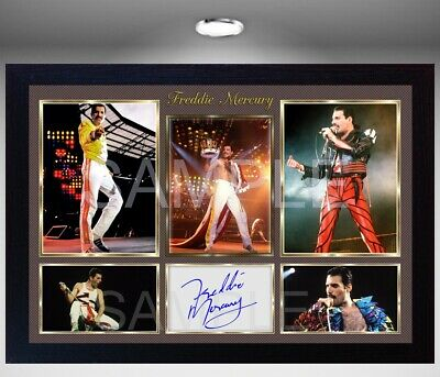 Freddie Mercury Queen signed autograph Rock Music pre-print poster photo Framed