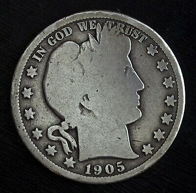 1905 O Barber Silver Half Dollar ☆☆ Circulated Half Dollar☆☆Cleaned Hole Filler