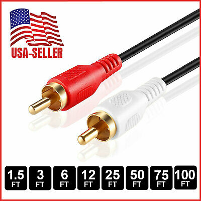 RCA Stereo Audio Cable Dual RCA Male Gold-Plated AV Cord FOR HDTV DVD VCR LOT