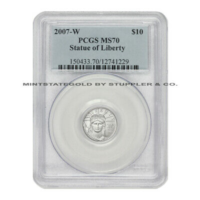 2007-W $10 American Platinum Eagle PCGS MS70 Graded Burnished 1/10 Coin SP70