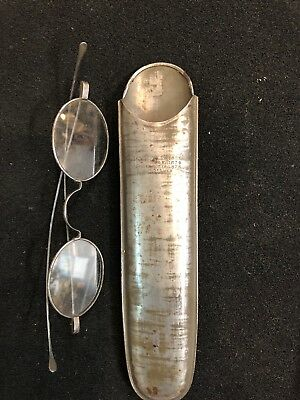 Antique Patented Signed C. Parker Tin Eyeglass Case With Spectacles