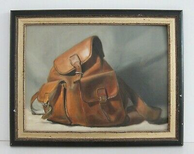 Still Life of a Leather Rucksack VTG Unsigned Realist Oil Painting Framed 15x19