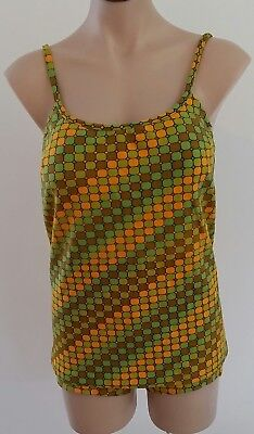Vintage 60s GENEVIEVE Australia Made GREEN GOLD STRIPED 2 piece Swimsuit BATHERS