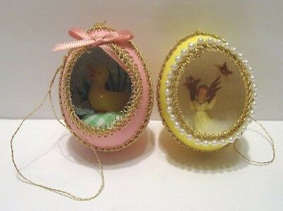 2 Vintage Easter Diorama Style Egg Decoration Ornaments