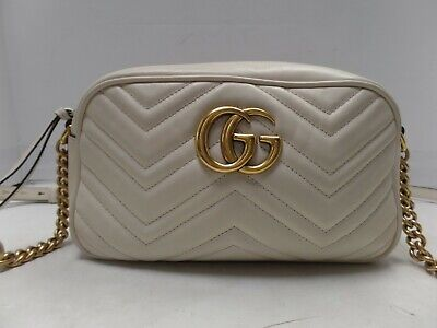 f6f8ab4c4de Authentic GUCCI GG Marmont small Matelassé shoulder Leather bag White 447632