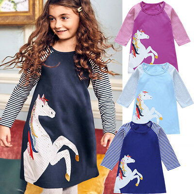 Baby Girls Floral Long Sleeve O Neck Dresses Spring Fall Soft Cotton Skirt Dress