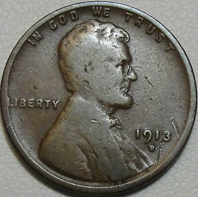 1913-D 1C Lincoln Cent, Wheat Penny, LWC, Copper, #9014