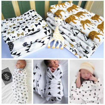 Baby Swaddling Wrap Blanket Cotton Muslin Newborn Infant Nursing Cover 120*120cm