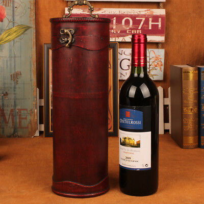 New Antique Vintage Cylinder Wine Holder Box Retro Wine Rack Wood Box Gift Box