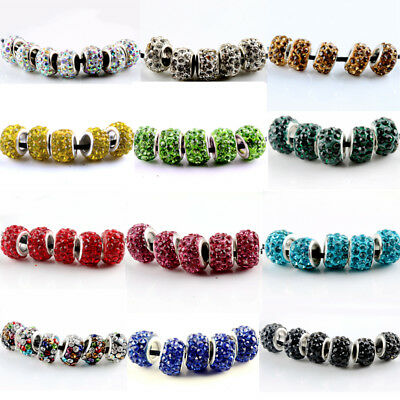 20pcs Silver Plated Crystal Glass Bead Fit European Charm Bracelet