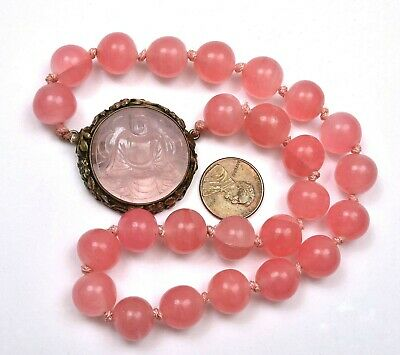 Chinese Sterling Silver Rose Quartz Pendant Peking Glass Bead Necklace Buddha