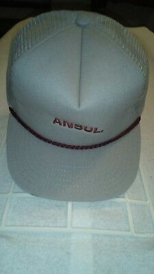 6b2ce6472b2 Vintage ANSUL Trucker Hat Snapback Cap Made in USA Embroidered Mesh Rope  Gray