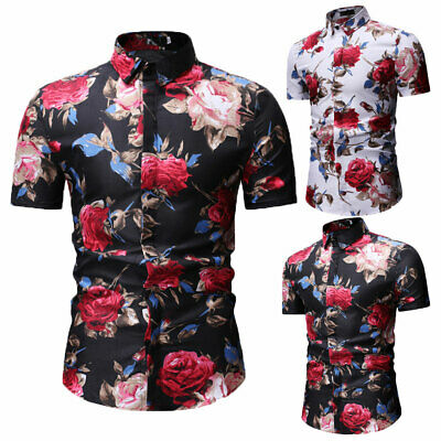 Luxury Mens Stylish Casual Dress Shirt Slim Fit T-Shirts Formal Short Sleeve HOT