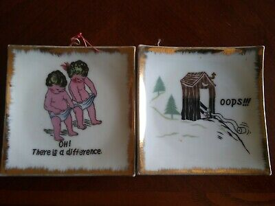 2 Vintage cute dish/wall hanger- Oh ! There IS a difference- Bradley Exclusives