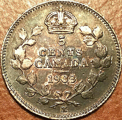 1903H CANADA SILVER 5 CENTS - Excellent example!
