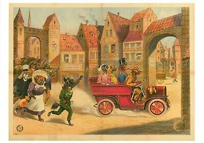 Dressed Dogs Drive Antique Car in a Medieval City in Germany Modern Postcard