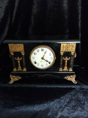 Sessions Ebonised & Column Mantle Clock In Excellent Working Order