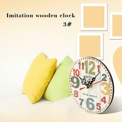 Artistic ticking Creative European Style Round Antique Wooden Home Wall Clock BE