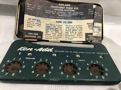 Vtg KEN-ADD Convenient Purse Size Adding Machine Calculator