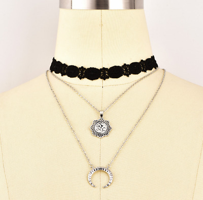 Fashion Ancient Silver Lace Neck Chain Multi-layer Moon Pendant Necklace